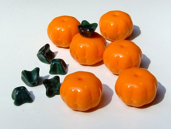 Pumpkin Beads 11mm Glass for Wine Charms Jewelry Crafts