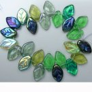 Green Leaf Beads Evergreen Mix Glass Czech 25 Pcs