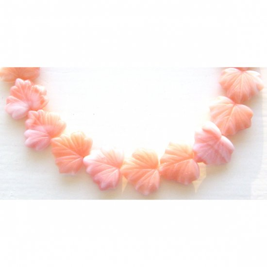 11x14mm Peach and Creamy White Leaf Bead Maple