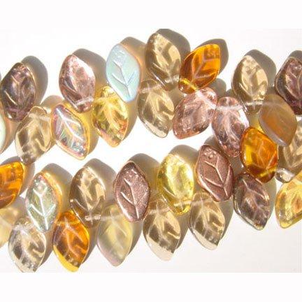 Topaz Bronze Amber Leaf Beads Autumn Fall Splendor 25