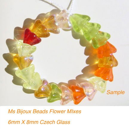 Flower Beads Tropical Mix Czech Glass Red Yellow Orange Pink