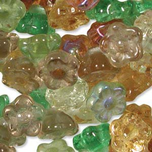 Flower Button Beads Topaz Green Gold Mix 7mm Glass Earth Tones