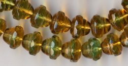 Acorn Shape Amber Topaz Green Fire Polish Glass Beads