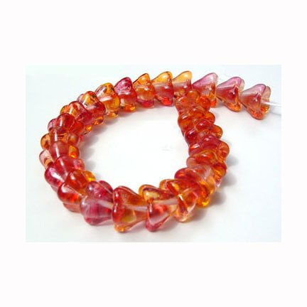 Fire Opal Flower Beads Glass Deep Pink/Golden Yellow Autumn  Color