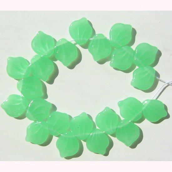 Milk Jade Green Leaf Beads Czech Glass Vintage Style 20