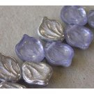 Lilac with Silver Leaf Beads Vintage Style Czech Glass Gorgeous!