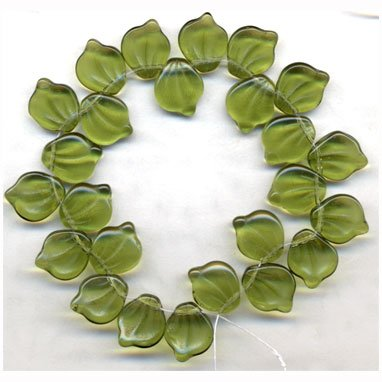 Olive Green Leaf Beads Vintage Style Czech Glass