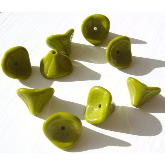 Olive Green Opaque Glass 3 Petal fluted Flower Beads