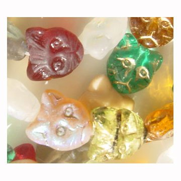 15 Cat Face Glass Beads Color Assortment Cute 12mm