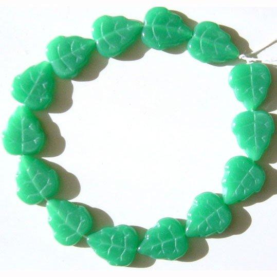 12mm Green Opal Leaf beads Czech Glass 15 Pieces Autumn