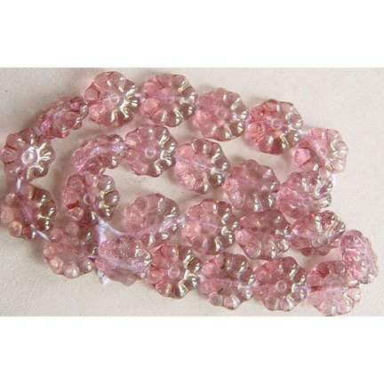 8 Petal Pink Mauve Daisy Flower Beads Czech Glass 8mm