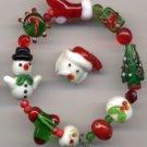 Snowman, Santa Hat, Stocking Tree Christmas Glass Lampwork Beads