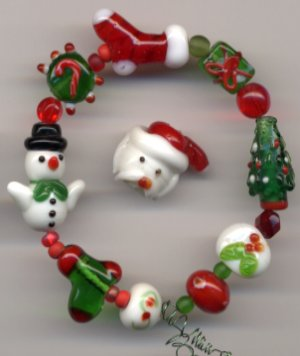 Snowman, Santa Hat, Stocking Tree Christmas Glass Lampwork Beads