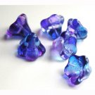Sapphire Blue w Purple Flower Beads Big Trumpet Shape
