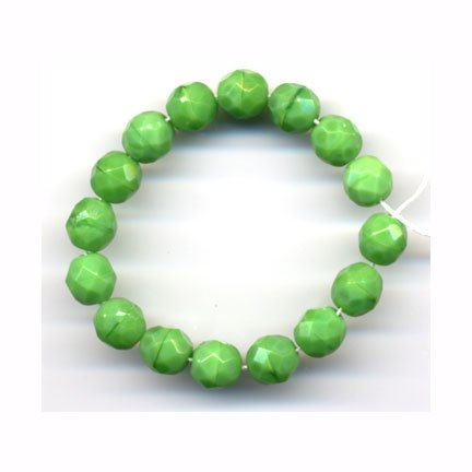 8mm Opaque Chartreuse Grinch Green Faceted Fire Polish Crystals Czech Glass Beads