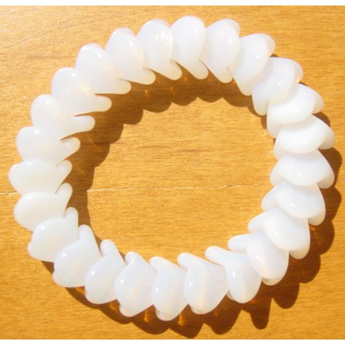 White Opal 3 Petal Glass Flower Beads Limited