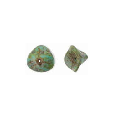 Green Picasso 3 Petal Flower Beads Czech Glass Opaque