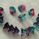 Fushia Pink /Teal 3 Petal Trumpet Glass Flower Beads