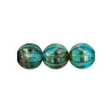 Aqua Celsian Melon 8mm Glass Beads