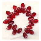 RED CZECH GLASS LEAVES 9x14mm Curled Leaf Beads 25 PCS