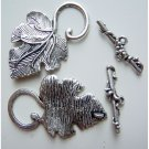 Tuscan Grape Vine Leaf Toggle Clasp Set Silver