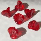 Red 3 Petal Trumpet Bell Flower Glass Beads Lily