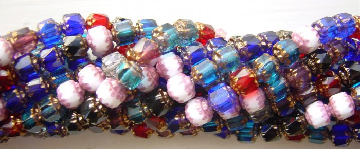 Jewel Tones Fire Polish Crystal Cathedral Beads Mix Antique Bevel Cut
