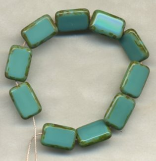Turquoise Rectangle Table Window Vintage Style Beads
