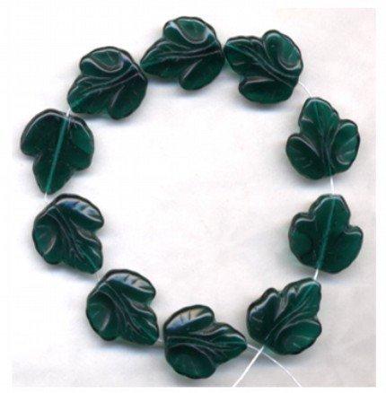 Grape Leaf Beads Big DK Green Glass Beads 20mm