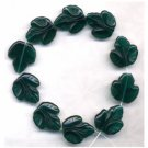 Grape Leaf Beads Big DK Green Glass Beads 20mm