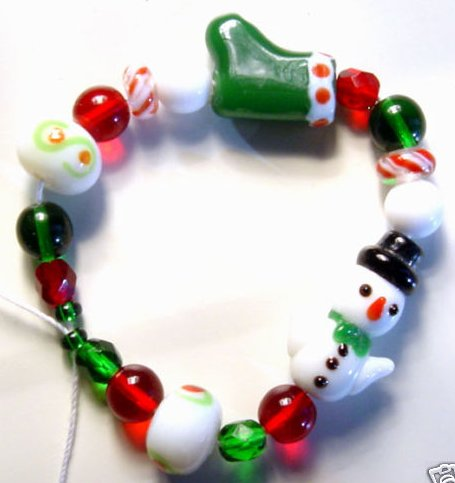Snowman Stocking Christmas Glass Lampwork Beads Fun Mix