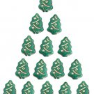 Green Opaque w Gold Christmas Tree Beads Charms Glass