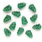 Emerald Green w Gold Inlay Christmas Tree Beads Glass  (
