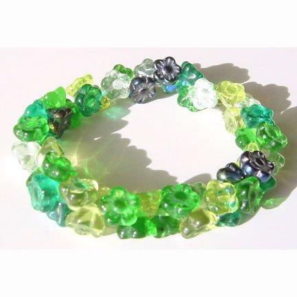 Evergreen Mix Flower Beads Button Button Back Shank 7mm Spring Green