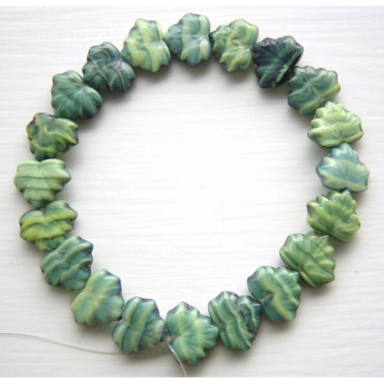Green Holly Ivy Maple Leaves Czech Glass Beads