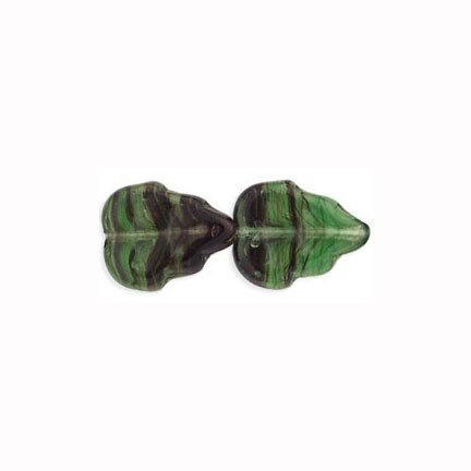 Holly Ivy Green Leaves Czech Glass Beads 20