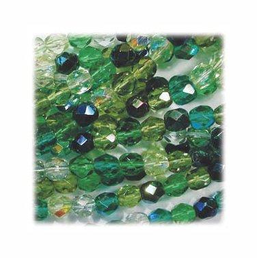 Green Mix Firepolish Mix Fire Polish Beads 4mm Evergreen