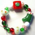 Present Stocking Christmas Holiday Lampwork Beads