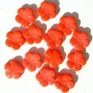 5 Petal BiG Flat Flower Glass Bead Coral Color Orange-Red
