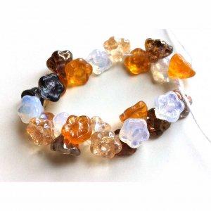Button Flower Back Shank Beads Amber Topaz Antique Bronze Milk Opal