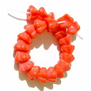 Coral Flower Cup Beads Czech Glass 8x6mm Pretty Fluted