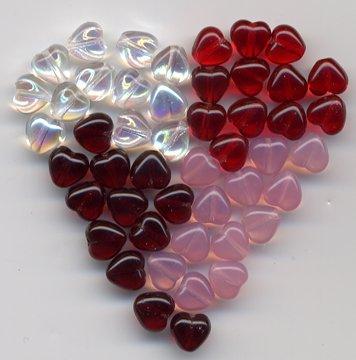 8mm Sweet Hearts Valentine Day Glass Czech Beads Mix 48 pcs
