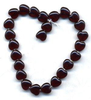 8mm Garnet Red Heart Beads Czech Glass