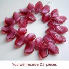 Cranberry Fuchsia Pink Leaf Beads Beautiful for Spring
