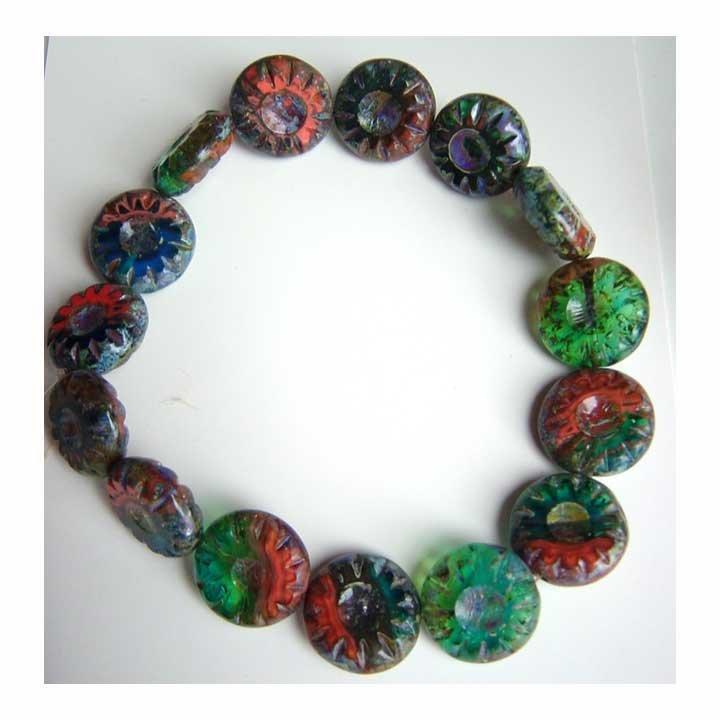 Vibrant Green Blue Orange Sunburst Disc Glass Beads