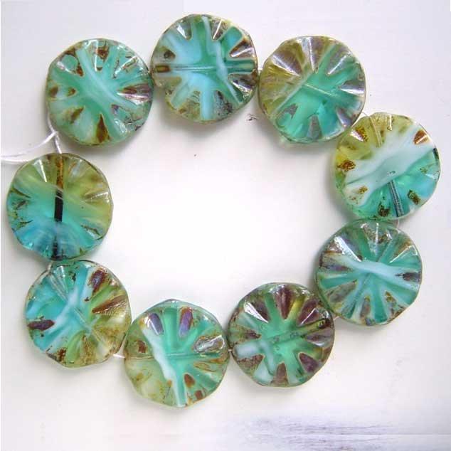 Aqua Green Sand White Glass Picasso Coin Disc Beads Desert Colors