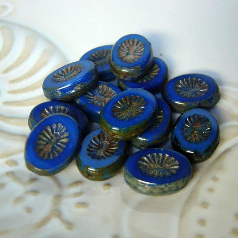 Deep Blue Starburst Oval Window Picasso Beads