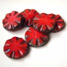 Red Sunburst Round Groove Coin Disc Picasso Beads New!
