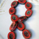 Red Opaque with Starburst Oval Window Picasso Beads