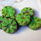 Lime Green Starburst Round Coin Picasso Beads